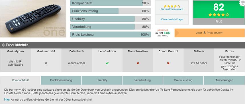 So sieht die Übersichtseite eines spezifischen Universal Fernbedienung Tests